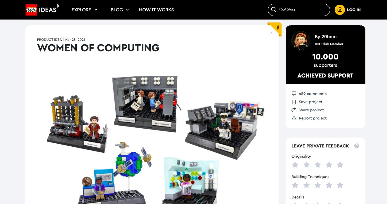 Women of Computing raggiunge i 10.000 sostenitori su LEGO Ideas