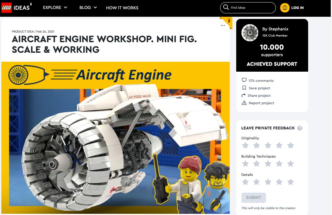 Aircraft Engine Workshop raggiunge i 10.000 like su LEGO® Ideas
