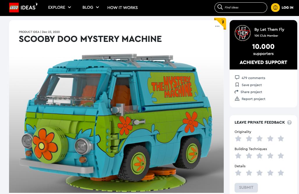 Scooby Doo Mystery Machine raggiunge i 10.000 like su LEGO® Ideas