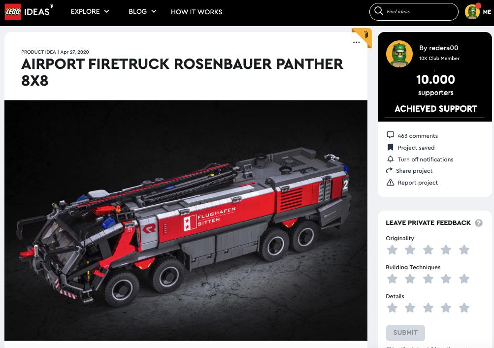 AIRPORT FIRETRUCK ROSENBAUER PANTHER 8X8 raggiunge i 10.000 like sul portale LEGO Ideas