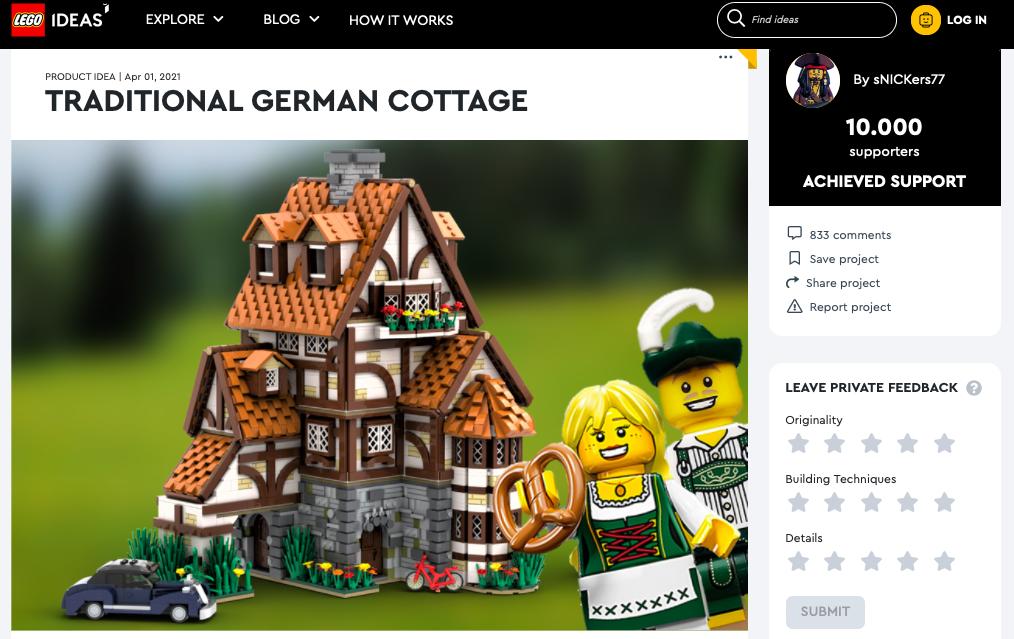 Traditional German Cottage raggiunge i 10.000 like su LEGO® Ideas