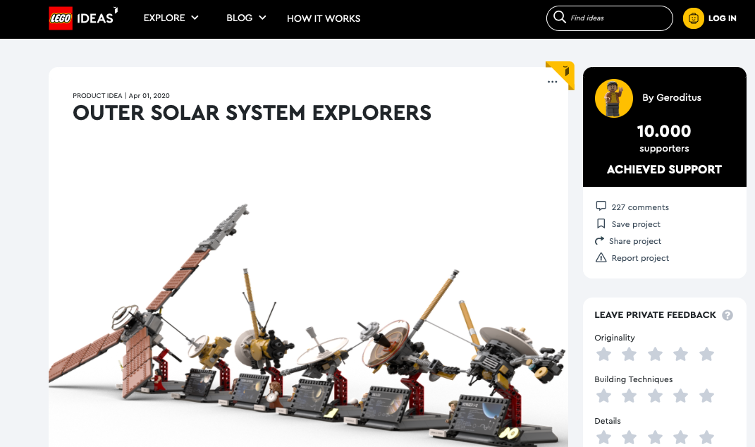 Outer Solar System Explorers raggiunge i 10.000 like su LEGO® Ideas