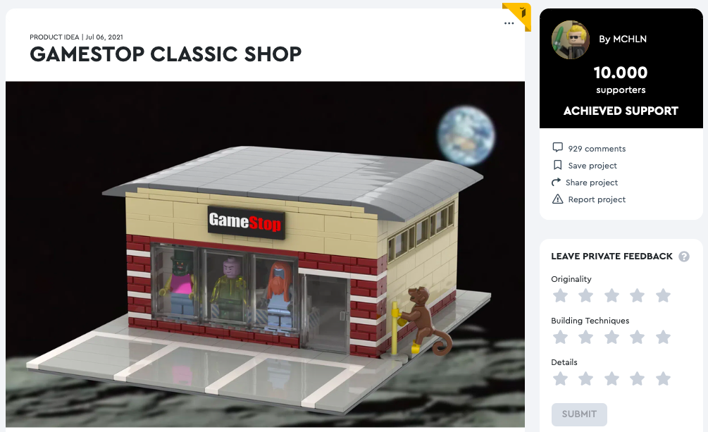 Gamestop Classic Shop raggiunge i 10.000 like su LEGO® Ideas