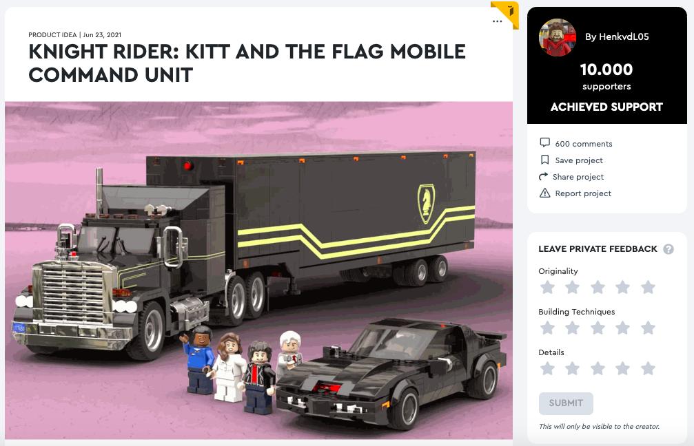 Knight Rider: Kitt and the Flag Mobile Command Unit raggiunge i 10.000 like su LEGO® Ideas