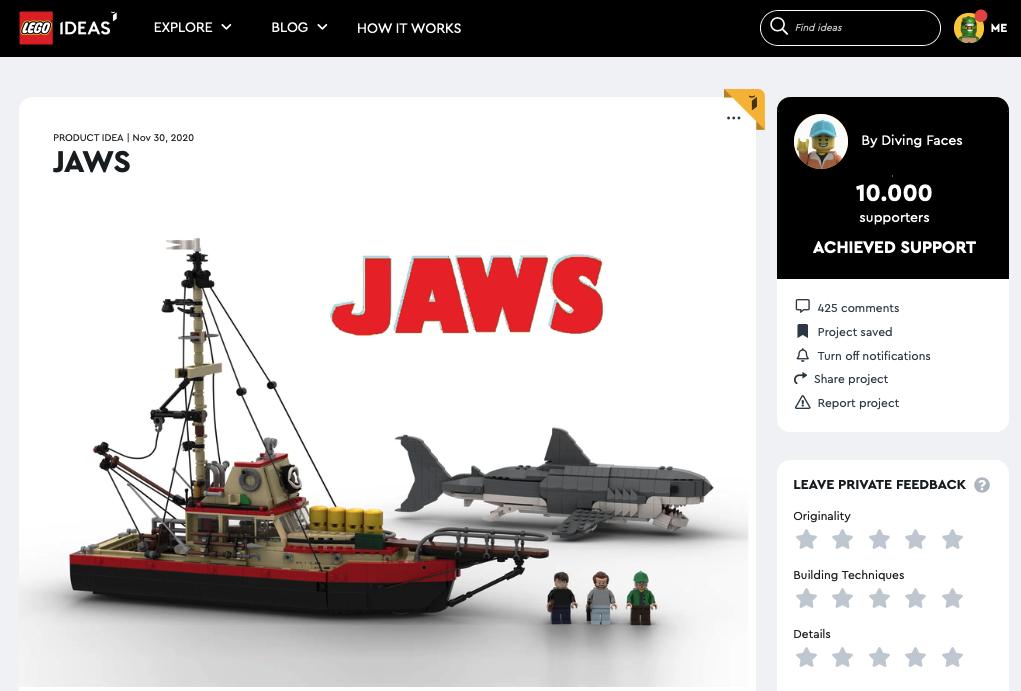 Jaws raggiunge i 10.000 like su LEGO® Ideas