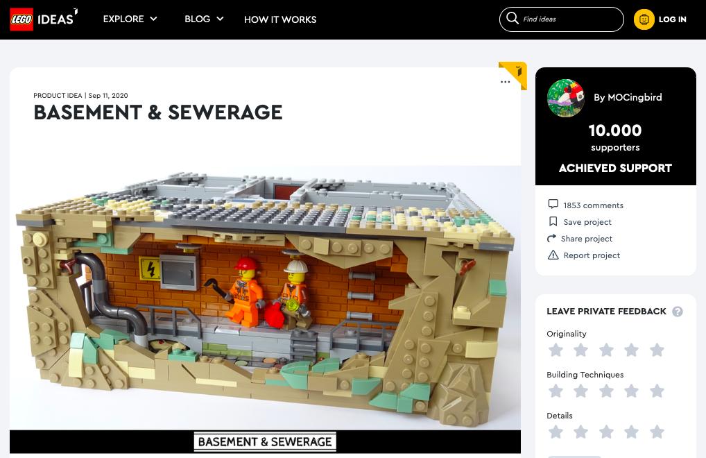 Basement & Sewerage raggiunge i 10.000 like su LEGO® Ideas