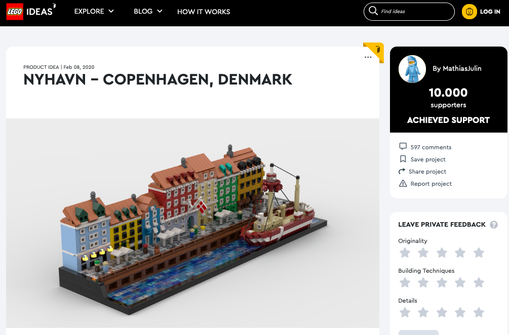 Nyhavn Copenhagen raggiunge i 10.000 like su LEGO® Ideas