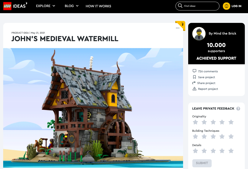 John's watermill  raggiunge i 10.000 like su LEGO® Ideas
