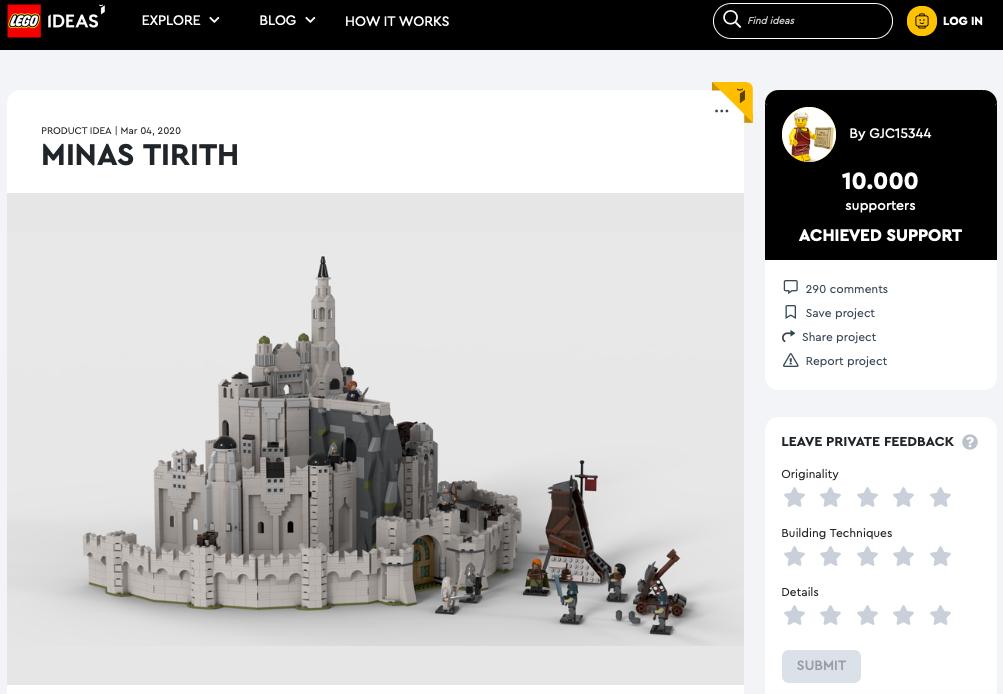 Minas Tirith, city of kings  raggiunge i 10.000 like su LEGO® Ideas