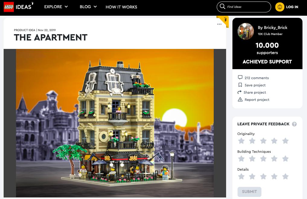 The Apartment raggiunge i 10.000 like su LEGO® Ideas