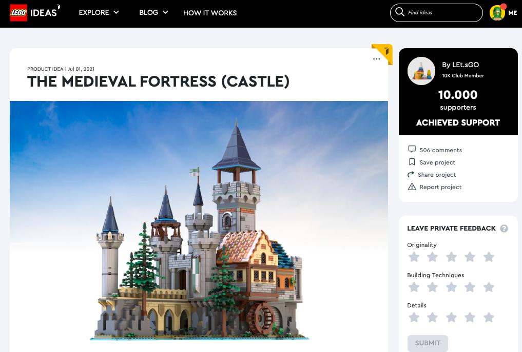 Medieval Fortress (Castle) raggiunge i 10.000 like su LEGO® Ideas