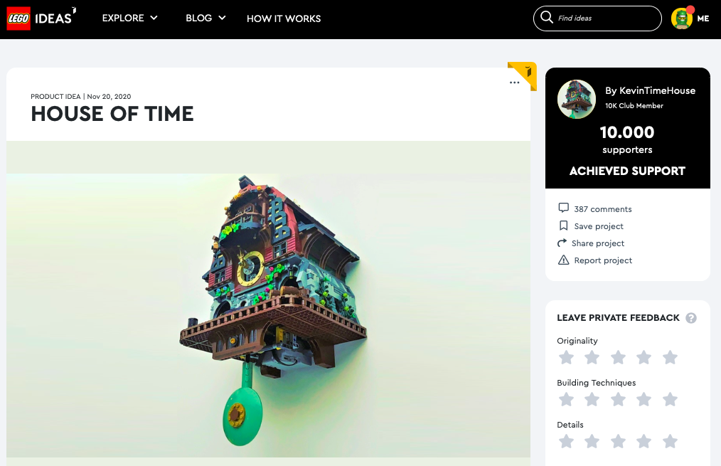 House of Time raggiunge i 10.000 like su LEGO® Ideas