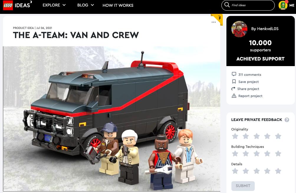 The A-Team: Van and Crew raggiunge i 10.000 like su LEGO® Ideas