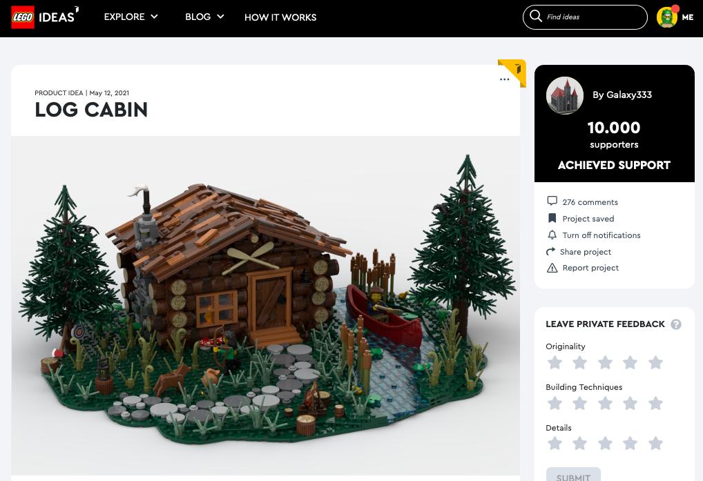 Log Cabin raggiunge i 10.000 like su LEGO® Ideas