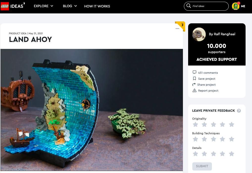Land Ahoy  raggiunge i 10.000 like su LEGO® Ideas