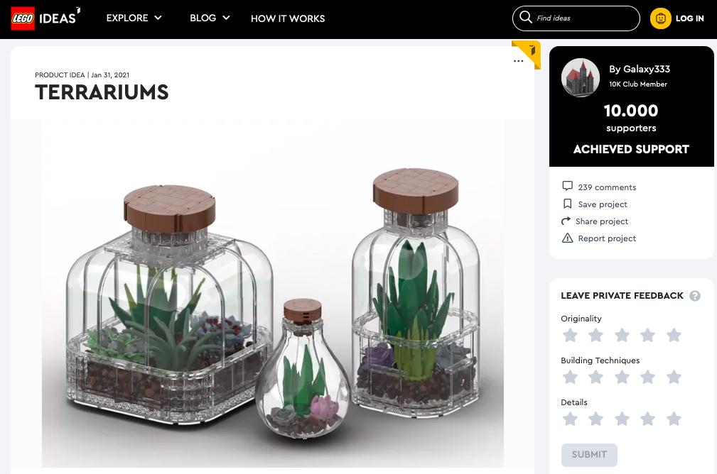 Terrarimus  raggiunge i 10.000 like su LEGO® Ideas