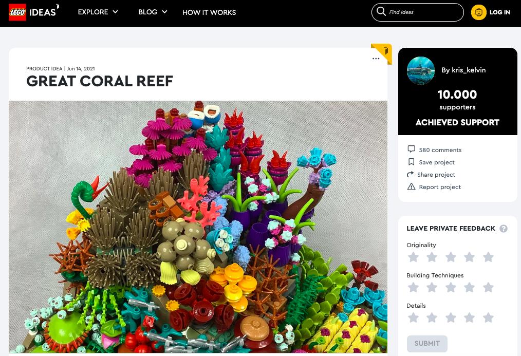 Great Coral Reef raggiunge i 10.000 like su LEGO® Ideas