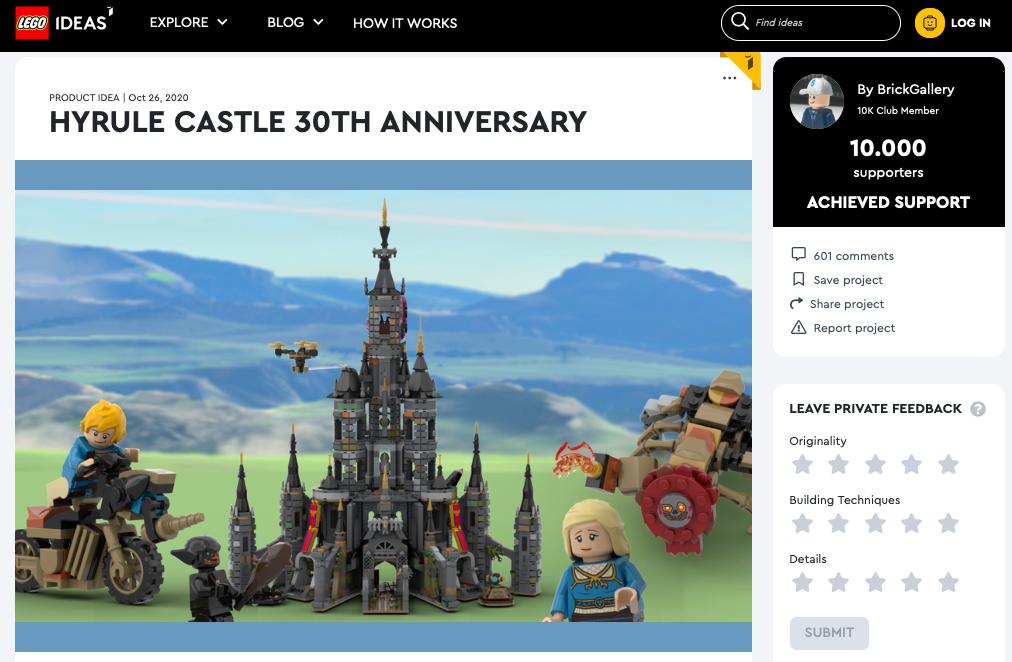 Hyrule Castle 30th Anniversary raggiunge i 10.000 like su LEGO® Ideas