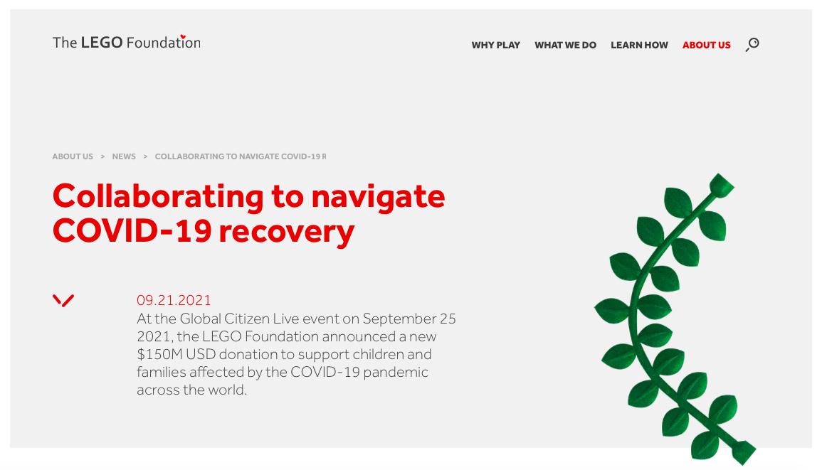 LEGO Foundation dona 150 milioni di dollari per sostenere i bambini e le comunità di tutto il mondo