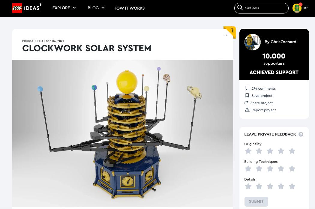 Clockwork Solar System raggiunge i 10.000 like su LEGO® Ideas