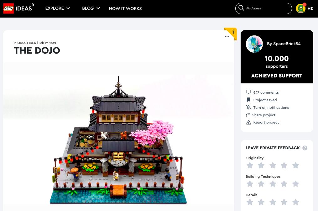 The Dojo raggiunge i 10.000 like su LEGO® Ideas