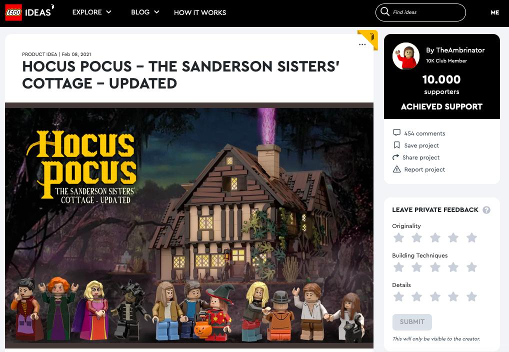 Hocus Pocus raggiunge i 10.000 like su LEGO® Ideas