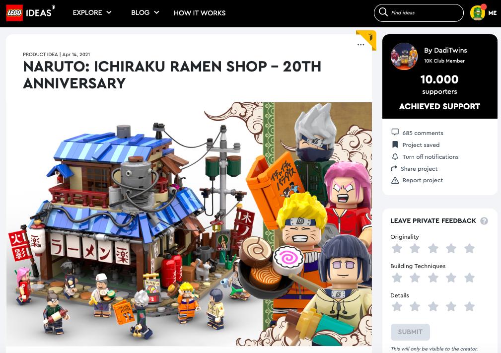 Naruto: Ichiraku Ramen Shop – 20th anniversary raggiunge (di nuovo) i 10.000 like su LEGO® Ideas